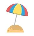 beautiful umbrella sun beach sand vector image