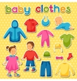 baclothes set clothing items for newborns vector image vector image