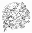 beautiful sea unicorn surrounded by waves vector image vector image