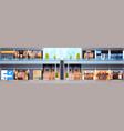 big shopping mall interior horizontal banner vector image vector image