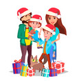christmas family mom dad children vector image vector image