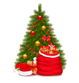 christmas tree and santa bag with gifts vector image vector image