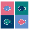 colored fugu fish icons set in the square vector image