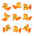 cute goldfish set funny fish cartoon characters vector image