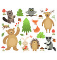 cute woodland animals beaver fox deer owl bear vector image