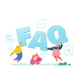 faq service concept people asking questions vector image