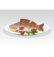 Fish icon Perch on white plate with lemon and vector image