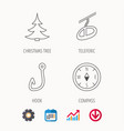 fishing hook teleferic and compass icons vector image vector image