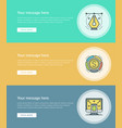 flat line business concept web site banners set vector image vector image