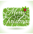 Holly Leaves and Merry Christmas Calligraphic Text vector image