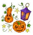 jack o lantern halloween set vector image