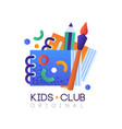 kids club logo original creative label template vector image vector image