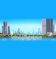 modern city panorama with skyscrapers and subway vector image vector image