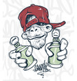 monkey in cap holding a spray paint print design vector image