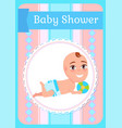 newborn in diaper lying with ball ba vector image vector image