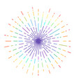 outline drawing rays sun in rainbow vector image vector image