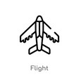 outline flight icon isolated black simple line vector image vector image