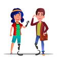 people with bionic legs cartoon characters vector image vector image