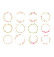 pink pastel daisy spring wreath doodle flat style vector image
