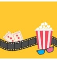 Popcorn Film strip border 3D glasses Tickets vector image vector image