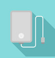 power bank with cable icon flat style vector image vector image