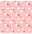 rainbow and clouds seamless pattern vector image vector image
