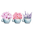rose lavender and lilly flowers in ceramic cup vector image vector image