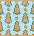 seamless pattern with gingerbread tree vector image vector image