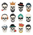 set hipster skulls with hair crowns hats vector image
