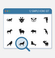 set of 12 editable zoo icons includes symbols vector image
