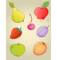 Set of hand drawn bright fruits
