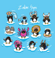 set penguins zodiac signs in cartoon style vector image