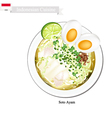 Soto Ayam or Indonesian Rice Noodle Broth vector image vector image