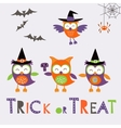 Trick or treat car with cute owl characters vector image vector image