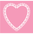 Valentine white lace like heart shape frame vector image vector image