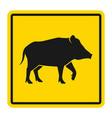 wild animals yellow road sign silhouette wild vector image