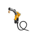 yellow fuelling nozzle with drop fuel vector image