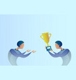 abstract business man giving golden cup prize to vector image