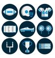 american football flat icon set vector image
