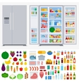 Refrigerator full of different products vector image