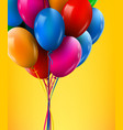 3d realistic colorful bunch of birthday balloons vector image vector image