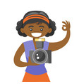 african-american photographer taking a photo vector image vector image