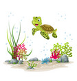 an underwater landscape with turtle and plants vector image vector image