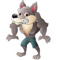 angry wolf character vector image