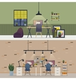 Basement office flat or room workspace interior vector image
