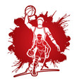 basketball players action cartoon graphic vector image vector image