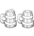Beer wooden mug vector image vector image