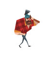 cartoon lumberjack character walking with hand in vector image