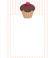 Chocolate cupcake on pink white stripes pattern vector image