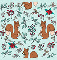 christmas winter forest squirrel seamless pattern vector image vector image